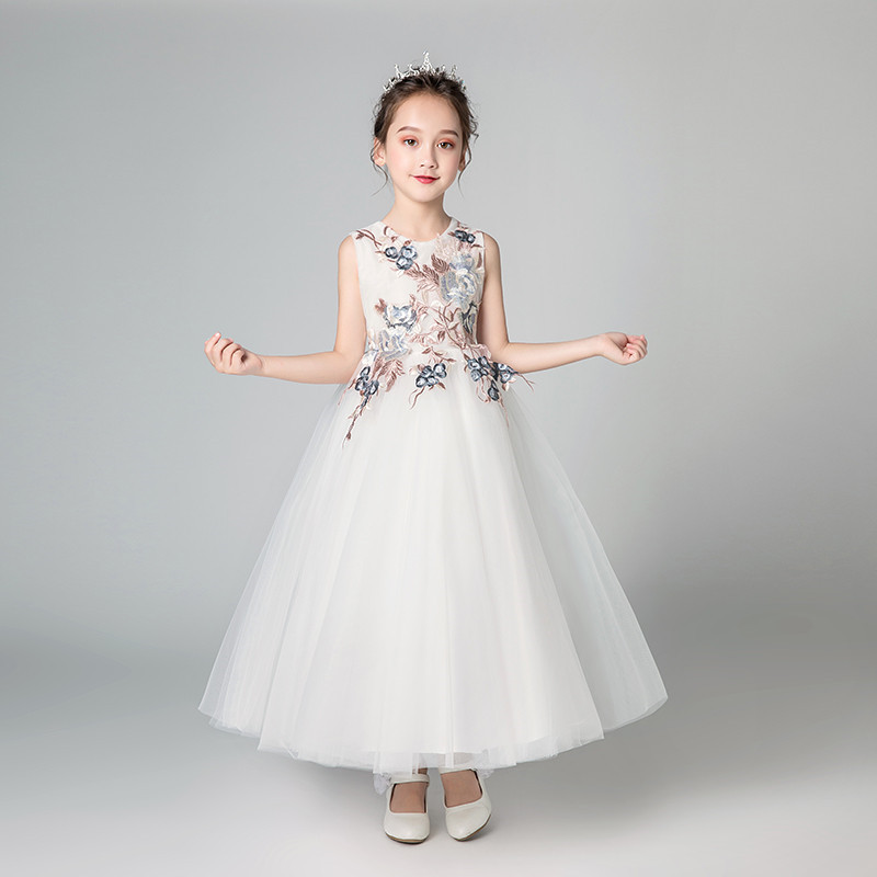 4f0aa9626 Korean Sweet Children Girls Appliques Flowers White Color Birthday Wedding  Party Fluffy Dress Toddler Kids Piano