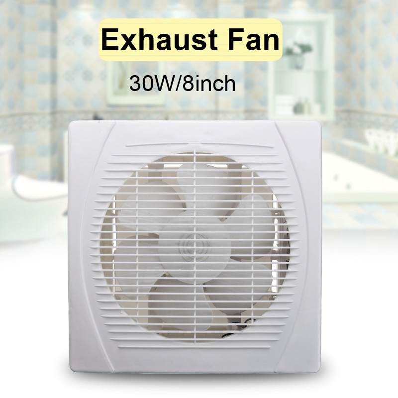 30W 8 Inch 220V Exhaust Fan High Speed Low Noise Toilet Kitchen Bathroom Window Ceiling Wall Glass Small Ventilator Extractor