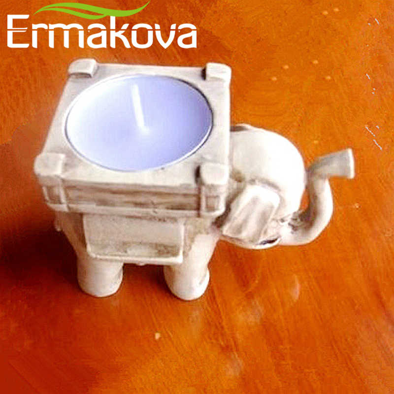 ERMAKOVA เรซิ่น Lucky Elephant ชาเทียนนก Statute ผู้ถือ Tealight Retro เทียนงานแต่งงาน Decor