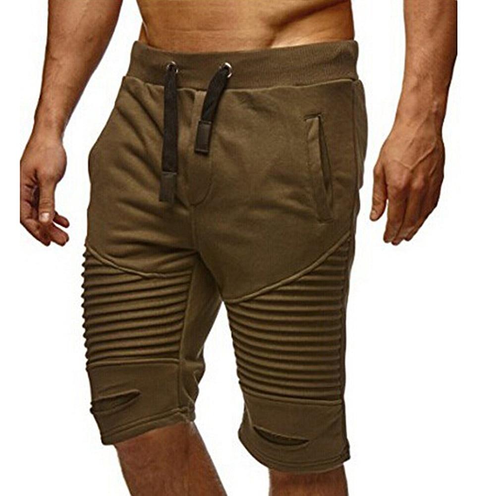 Men Summer Casual Drawstring Elastic Waist Half Length Pants Trousers