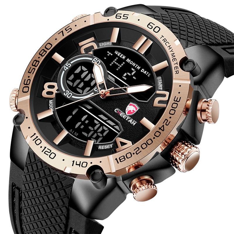 GUÉPARD Mode Sport Hommes Montres De Luxe Marque Silicone Montre Étanche Date LED Analogique Numérique Homme Horloge Relogio Masculino