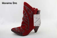 Moraima Snc Red Leather Cone Heel Ankle Boots Pointed Toe Mixed Color Winter Embroider Short Boots Women Low Heel Dress Shoes