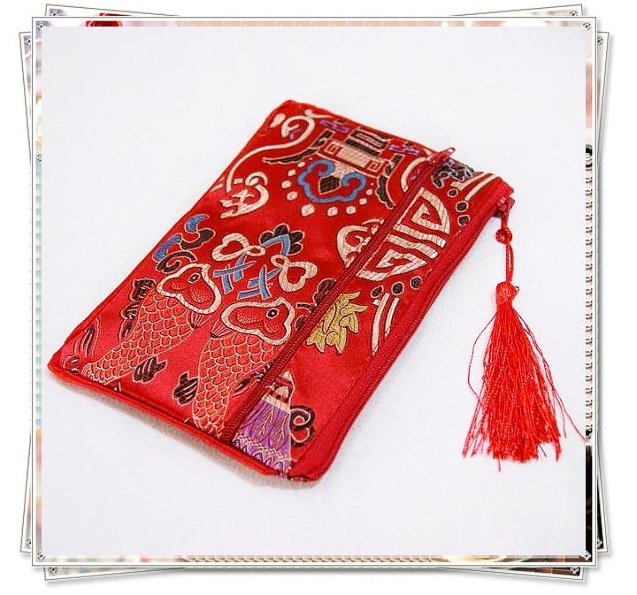Floral Double Zipper Purse Bag Large Tassel Gift Bag Christmas Party Favors  Makeup Travel Bag Chinese Silk Phone Pouch 5pcs lot d12c99a0576