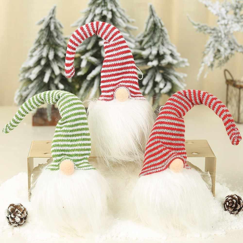 2019 NEUE JAHR Weihnachten LED Gesichtslosen Männlichen Plüsch Puppe Ornamente Nette Anhänger Dekoration Kinder Geschenk Party Weihnachten Baum Anhänger