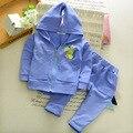 2017 Primavera/Otoño Dinosaurio Ropa de Bebé 2 unid muchacha del niño que arropan la historieta ropa de los muchachos con capucha zip + deporte pantalones de chándal