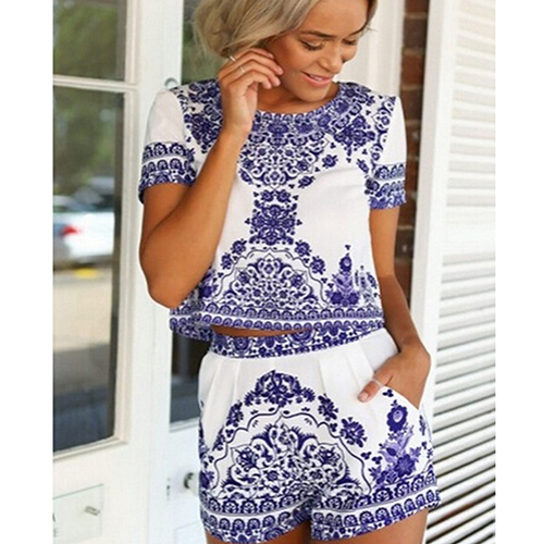 Women's Summer Retro Vintage Blue White Print T-shirt + Shorts Two-piece Shorts