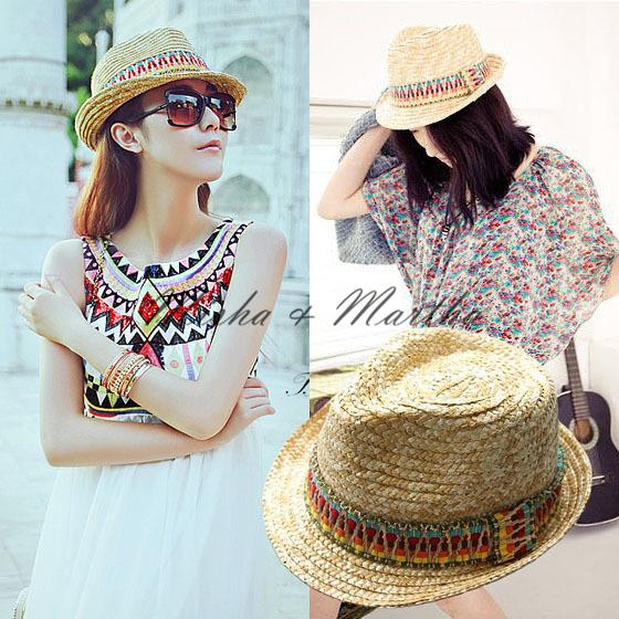 New Fashion Bohemian style coloured ribbon Sun Hats for women ladies summer  Style straw hat Foldable beach hat Vacation Tour hat-in Sun Hats from  Apparel ... 32b26d63f5b