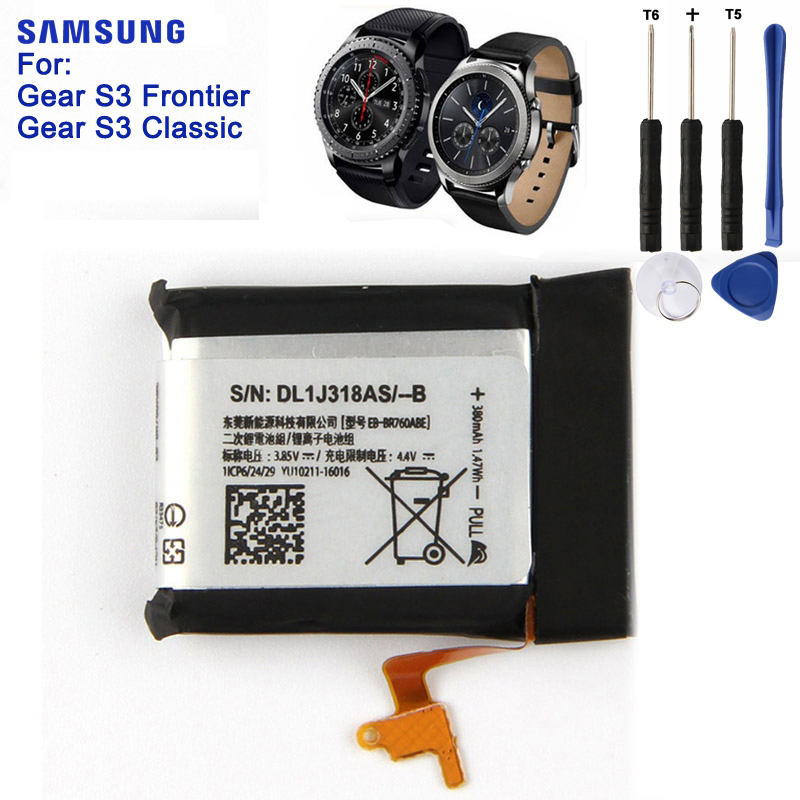 SAMSUNG Original Replacement Battery EB-BR760ABE For Samsung Gear S3 Frontier / Classic Smart Watch SM-R760 SM-R770 SM-R765 samsung original replacement battery eb l1g6llu for samsung galaxy s3 i9300 i9128v i9082 i9308 i9060 i9305 i9308 l710 i535