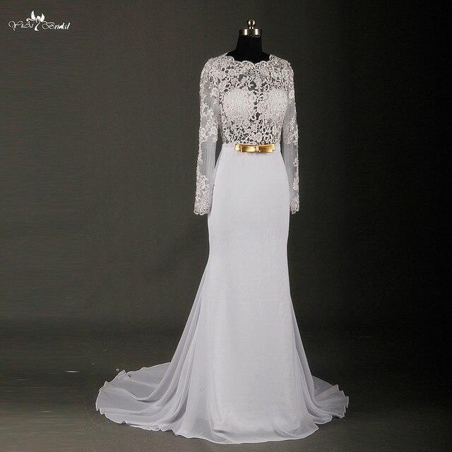 С длинным рукавом шифон свадебное платье Vestido де Noiva Sereia сексуальная видеть сквозь корсет спинки свадебные платья RSW723