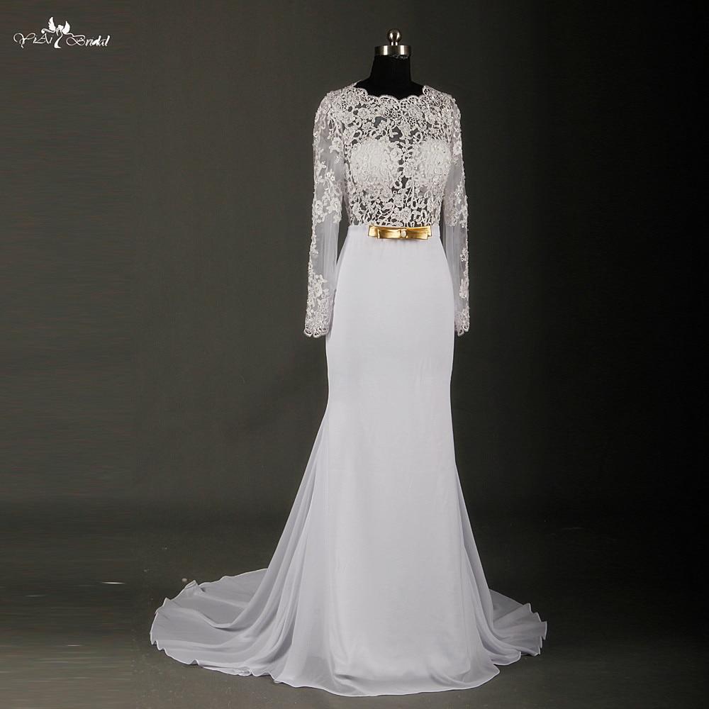 long sleeve chiffon wedding dress vestido de noiva sereia sexy see through corset backless wedding dresses