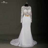 Long Sleeve Chiffon Wedding Dress Vestido De Noiva Sereia Sexy See Through Corset Backless Wedding Dresses RSW723