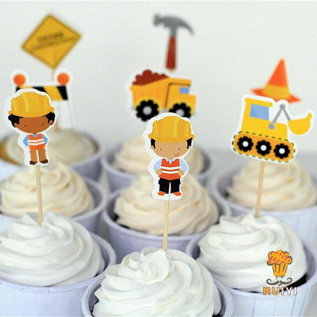 24pcs Construction Cake Toppers Dump Trucks Cupcake Picks Cases Kids