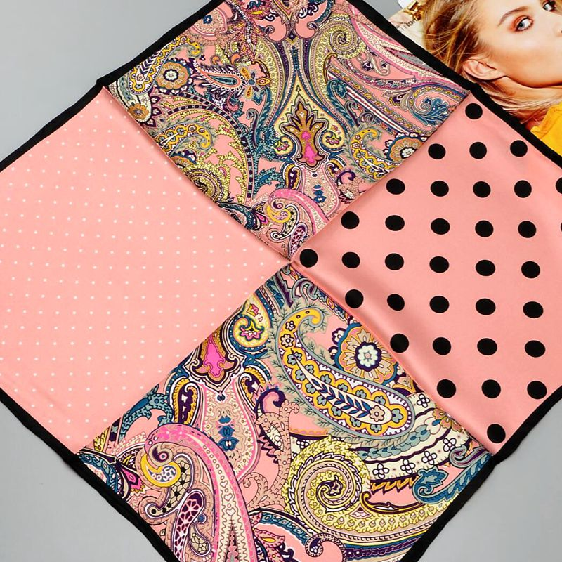 HANSCARF Square Silk Scarf Women 2017 Fashion Polka Dot  and Paisley Print 100% Silk twill Scarves Wraps Bandana Hijab