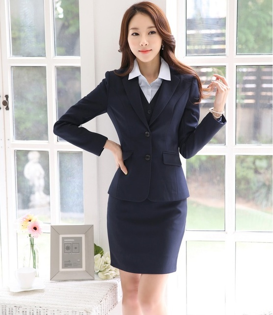 0dba49403bfa Ladies Formal Uniform Styles Skirt Suits Professional Business Work Wear  Jackets And Skirt Women Blazers Outfits