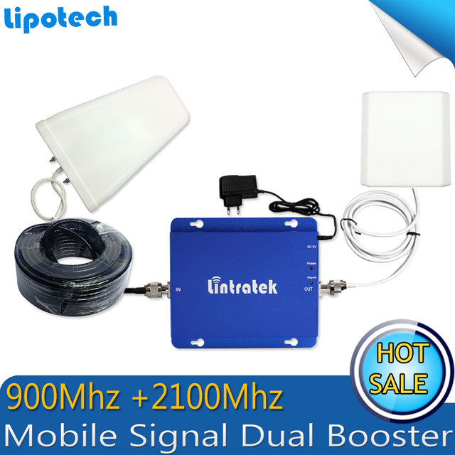 Full Set High Gain Dual Band 3G Signal Amplifier Repeater GSM 900Mhz/ WCDMA 2100Mhz Mobile Signal Booster Double Signal Bar