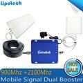 Sistema completo de Alta Ganancia de Banda Dual 3G Amplificador de Señal Del Repetidor GSM 900 Mhz/WCDMA 2100 Mhz Señal Móvil Booster de Señal Doble Barra