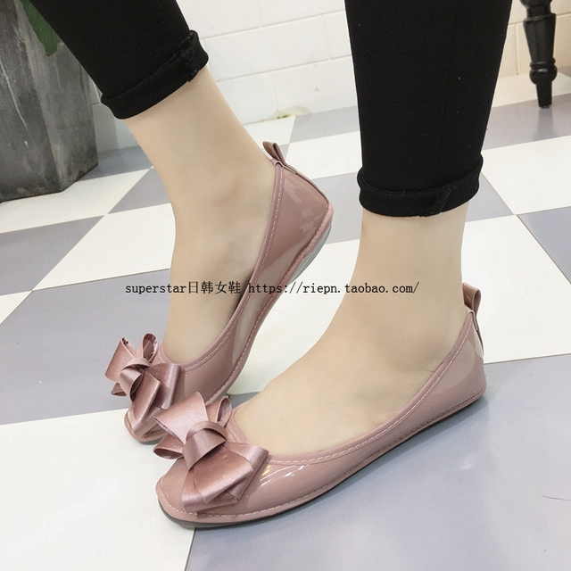 ead796b17045 New Women Bow Flats Ladies Girls Pink Ballerina Flats Portable Travel  Foldable Roll Up Shoes Woman Creepers Size 40 42