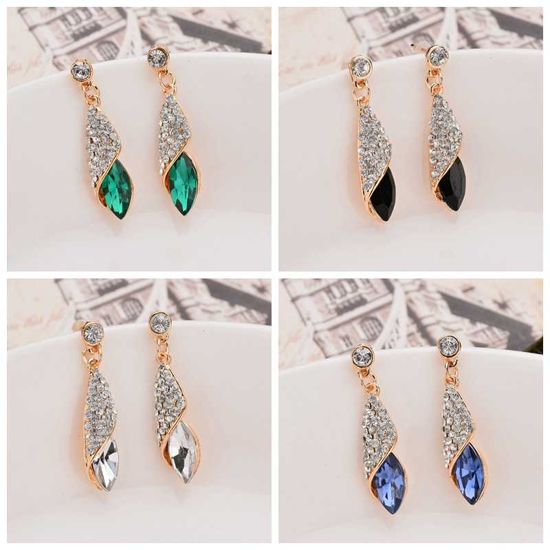 High Quality European and American Fashion Popular Ocean Glass Drops Temperament Earrings Wholesale Gifts