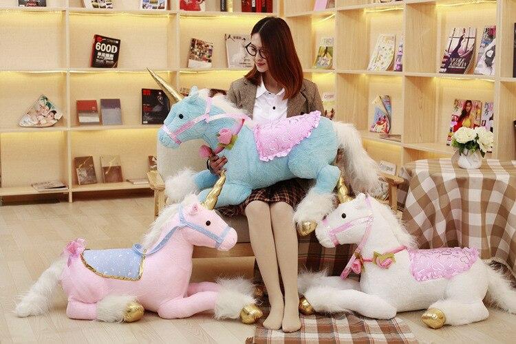 Grand 90 cm dessin animé licorne peluche jouet doux poupée oreiller jouet cadeau de noël h0898