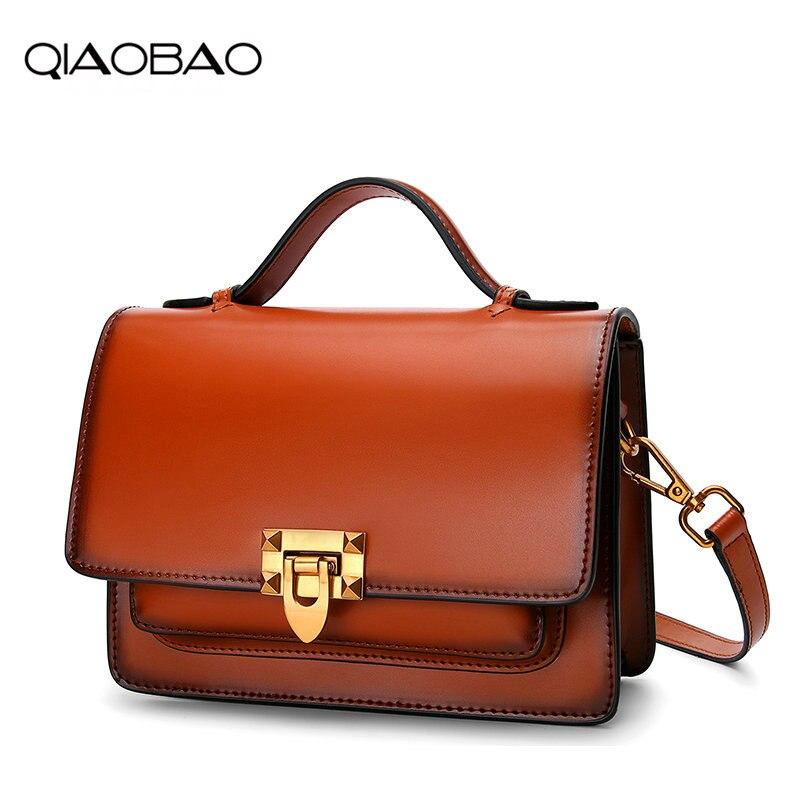 QIAOBAO Cowhide Bag female 2018 new Messenger bag female real leather retro small party bag casual fashion wild handbag tide