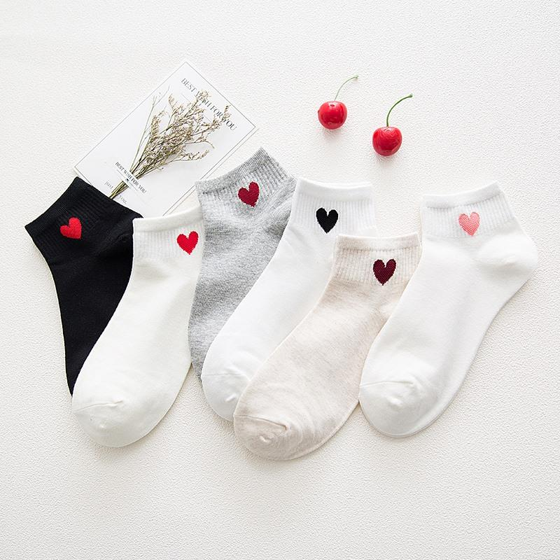 Halajuku Red Heart Cute College Wind Simple Basic Fresh Female Sock Warm Comfortable Cotton Spring And Summer Socks