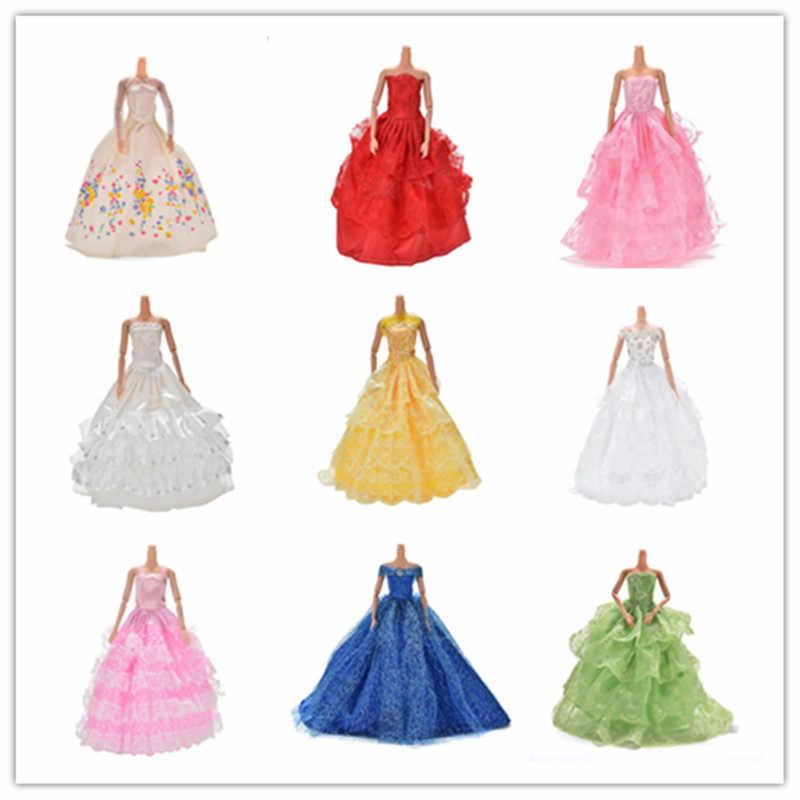 Kleurrijke Elegante Handgemaakte Zomer Bruidsjurk Prinses Jurk Kleding Bruiloft Jurk Voor Barbie Pop Acessories