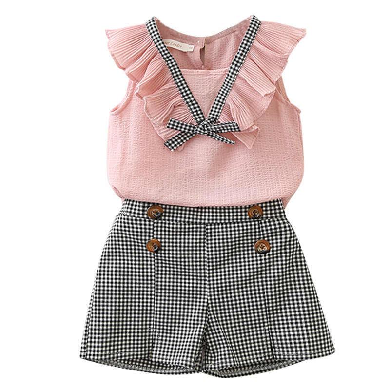 BibiCola baby sommer kleidung set kleine mädchen ärmellose tops + plaid kurzen hosen 2 stücke kinder mädchen trainingsanzug für mädchen kleidung