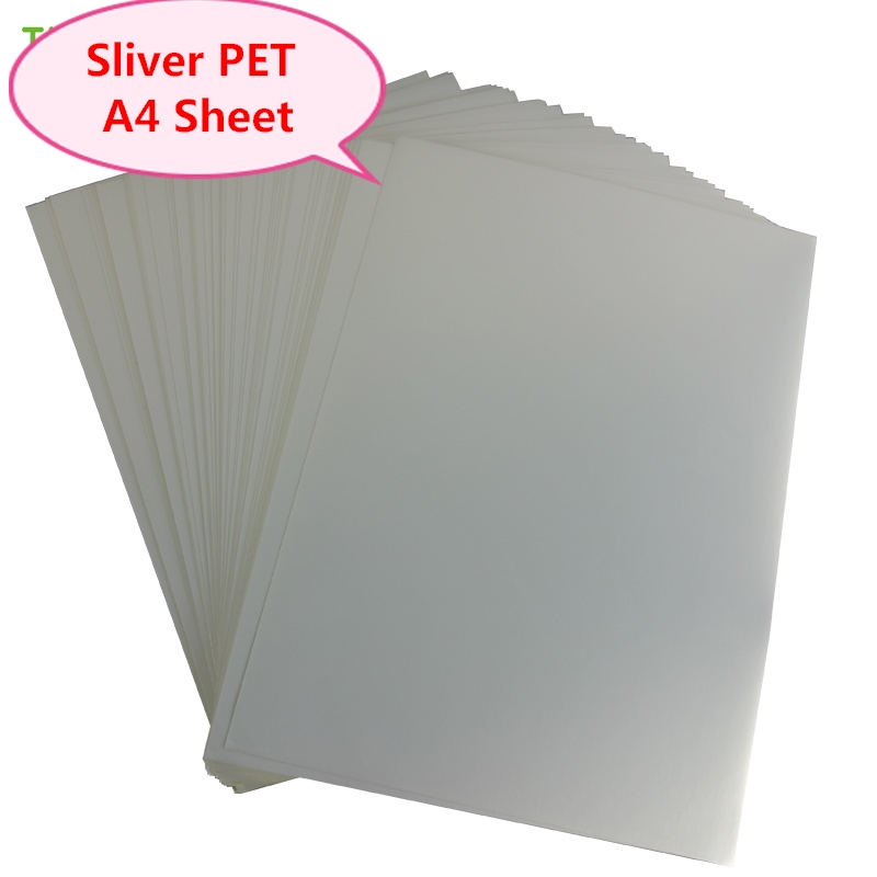A4 Sliver PET Inkjet Label Waterproof  Plastic Film Scratch Resistance For Ink Printer