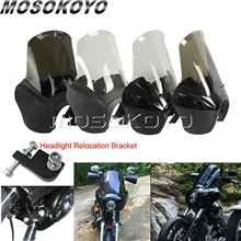 лучшая цена Smoke Motorcycle Custom Headlight Fairing w/Headlight Relocation Kit for Harley Dyna Fat Bob Low Rider Wide Street Glide 87-17
