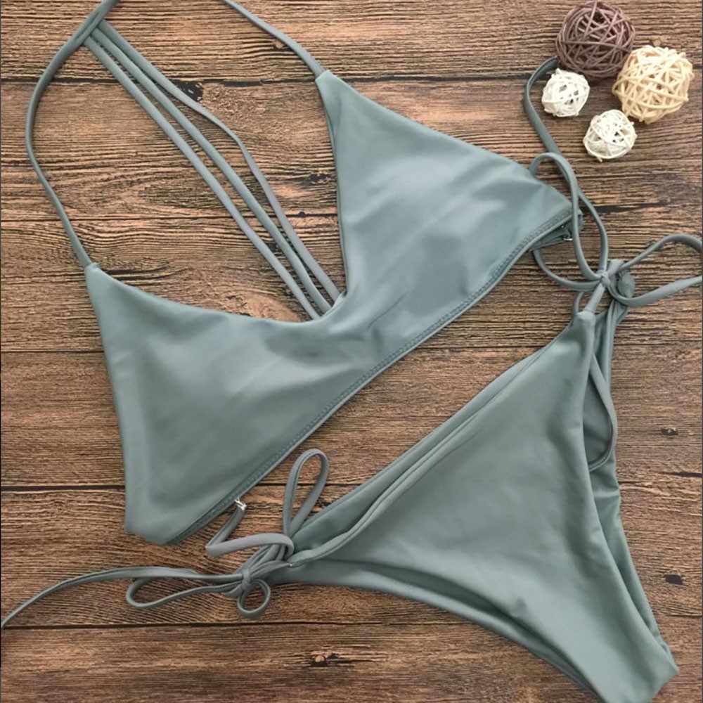 & 40 Bikini Wanita Bikini Set Seksi Baju Renang Bikini Push-Up Padded Solid Bra Swimsuit Beachwear Biquinis Feminino 2019 Bikini Set
