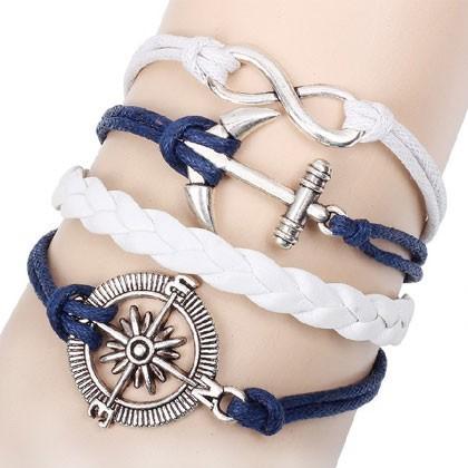 Leather Charm Bracelet - blue white sea-farer