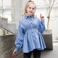 Maternity shirts tops spring autumn new long sleeve denim blouses for Pregnant women women fashion cottom tops ws396