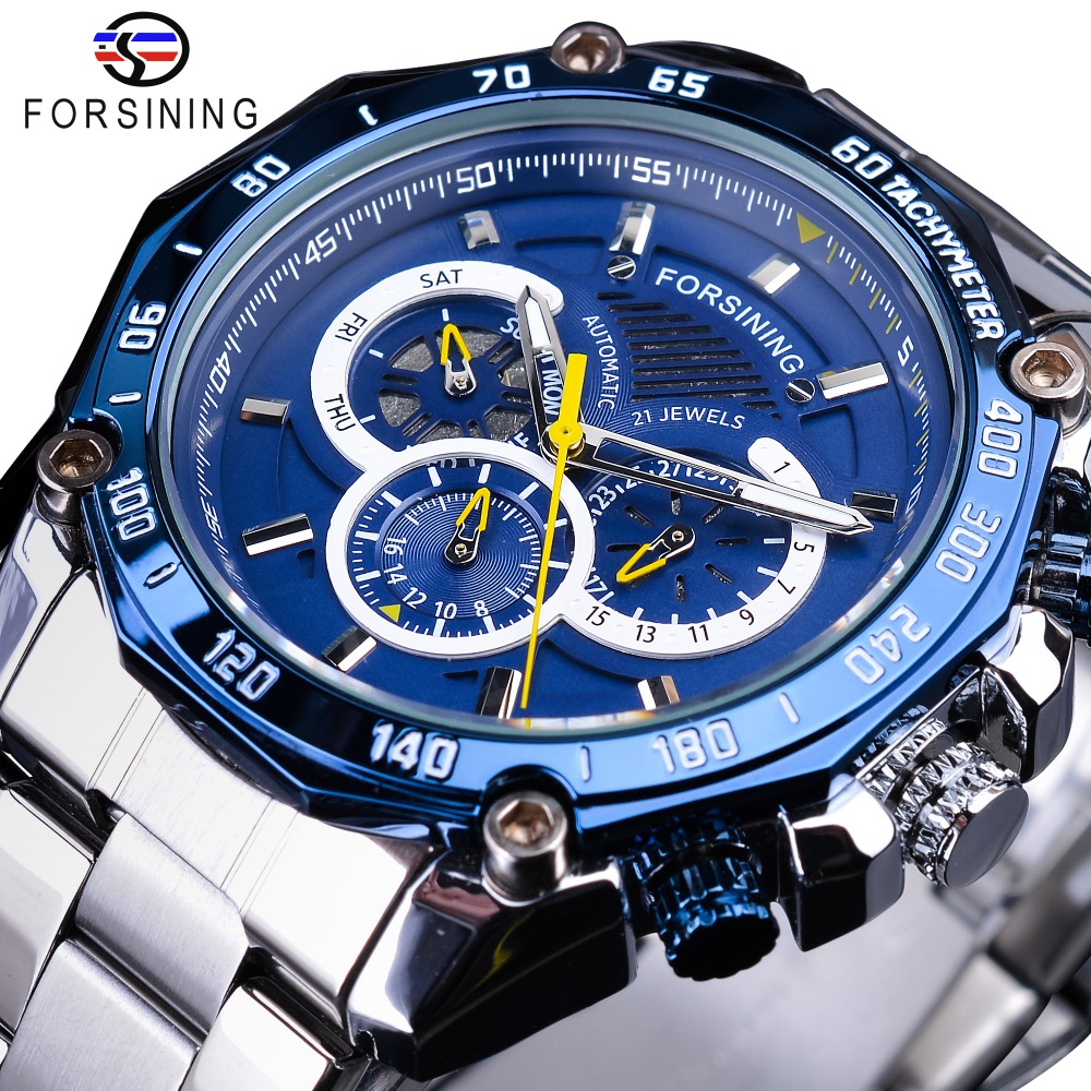 Forsining 2019 New Blue Design Complete Calendar 3 Small Dial Silver Stainless Steel Automatic Mechanical Watches for Men ClockForsining 2019 New Blue Design Complete Calendar 3 Small Dial Silver Stainless Steel Automatic Mechanical Watches for Men Clock