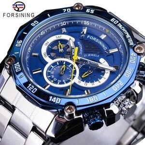 Image 1 - Forsining 2019 nowy niebieski projekt kompletna kalendarz 3 małe pokrętło srebrny ze stali nierdzewnej automatyczne mechaniczne zegarki dla mężczyzn zegar