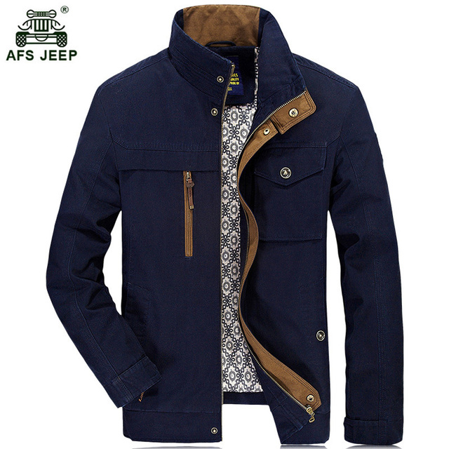e959bfee8d2 AFS JEEP Sale Hot Autumn Winter Jacket Men 100% Cotton Casual Mens Jackets  And Coats Solid Color Clothing Plus Size L-4XL h160