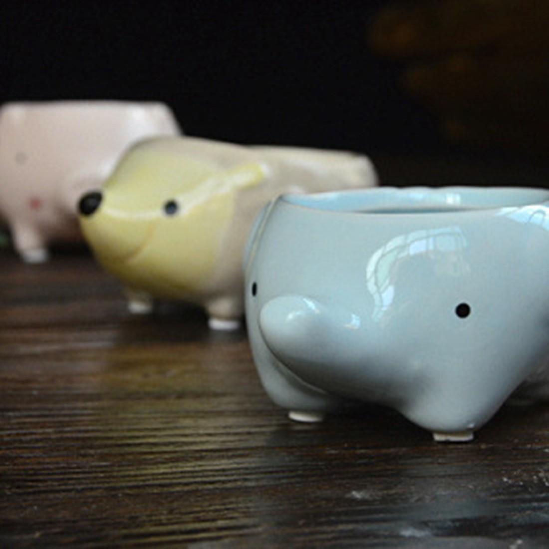 Practical Little Animals Ceramic Flowerpot Pig Elephant Hedgehog Planter On Sale Succulent Plants Flower Pot