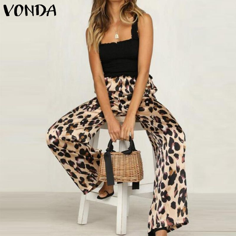Sexy   Wide     Leg     Pants   Women 2019 VONDA Leopard Print Long   Pants   Autumn Summer Elastic Streetwear Casual Loose Trousers Plus Size