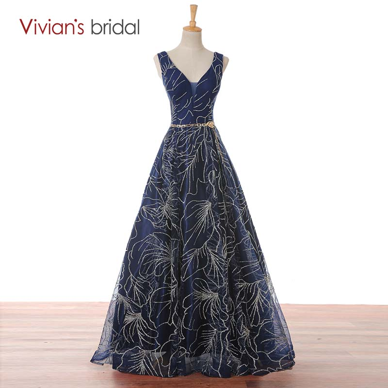 Vivian's Bridal Dark Navy Blue V Neck Sleeveless A Line Evening Dress Long Prom Dress Evening Gown