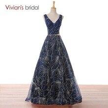 Vivian's Bridal темно-синее вечернее платье трапециевидной формы без рукавов с v-образным вырезом длинное платье для выпускного вечера Вечернее платье