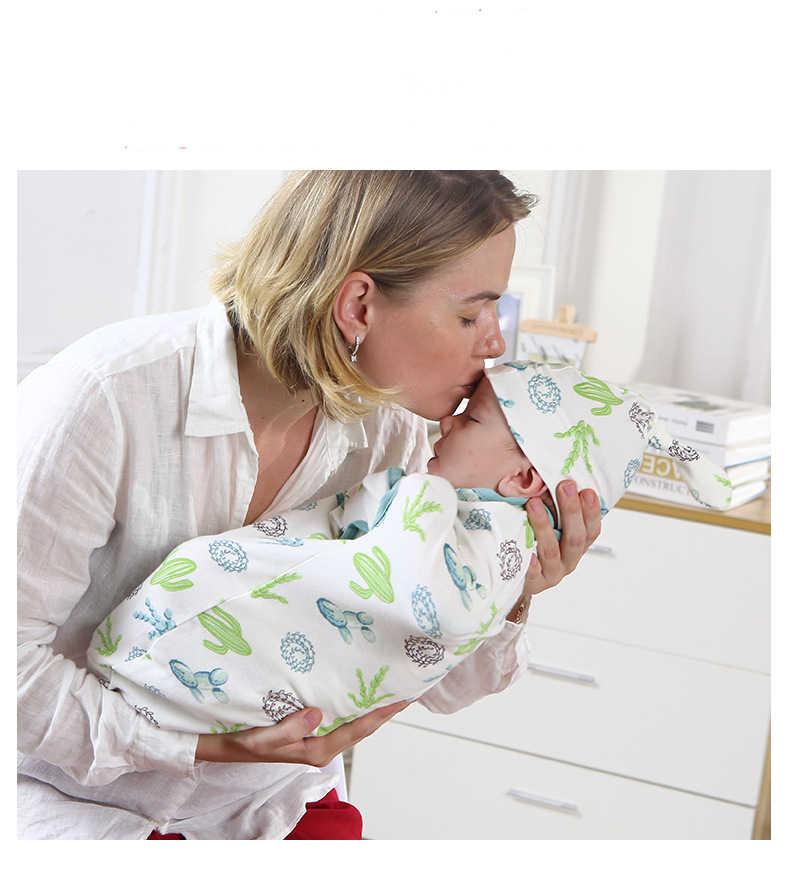 2 ピース/セット! 新生児ファッションベビーおくるみ寝おくるみモスリンラップヘッドバンドベビー睡眠ガウン幼児パジャマ