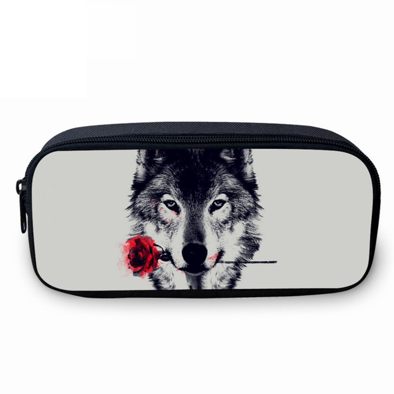 VEEVANV Animal Wolf Printing Case Holder Casual Pencil Purse Cute Animal Purses Kids Wallets School Case For Student Pencil Bags simple cute pencil cases transparent abs plastic big pencil case for student