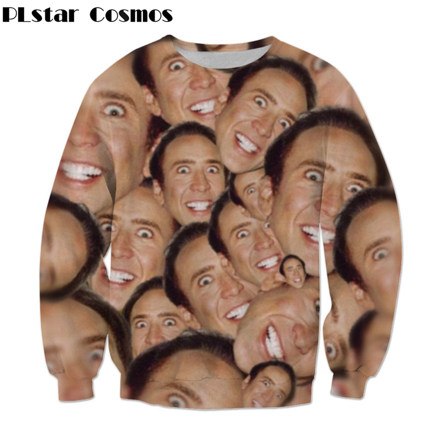 PLstar Cosmos 2019 Summer New Fashion Sweatshirt Star Actor Nicolas Cage Crazy Funny Stare At You Print 3d Men/Women Pullovers