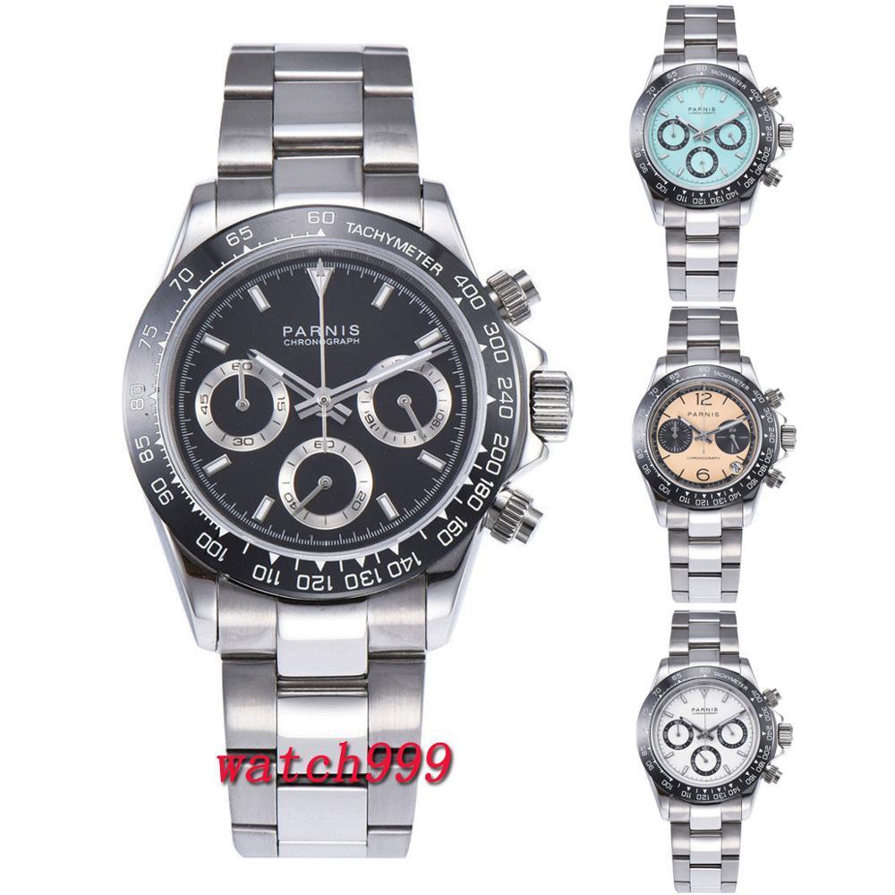 39 milímetros PARNIS mostrador Preto Cronógrafo de cristal de safira painel de Cerâmica sólida completa luxuoso relógio de quartzo mens watch relógio implantação fechos