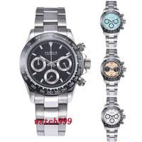 39mm PARNIS Black dial sapphire crystal Ceramic bezel solid full Chronograph luxurious quartz mens watch clock deployment clasps
