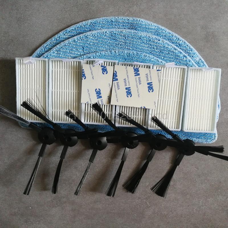 for ilife v5s pro ilife v5 ilife v50 v55 x5 V3+ V3 v5pro v3s pro 6* side brush + 6* HEPA Filter +3* Mop Cloth +5* magic paste