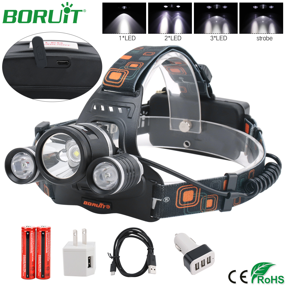 BORUiT 2R5 XM-L2 faro LED linterna recargable impermeable faro Camping caza linterna de la lámpara de antorcha de batería 18650