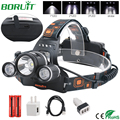 BORUiT XM-L2 LED Headlamp Flashlight USB Rechargeable Waterproof Headlight Camping Hunting Lantern Head Torch Lamp 18650 Battery