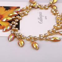 2 metre Altın Baz Kristal dikmek Elbise Dekorasyon Trim Aplike oval Cam Rhinestone Kupası Zinciri