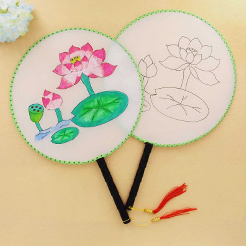 24cm Summer Elegant Round Hand Paddle Fan Lotus Pattern White Cloth Painting