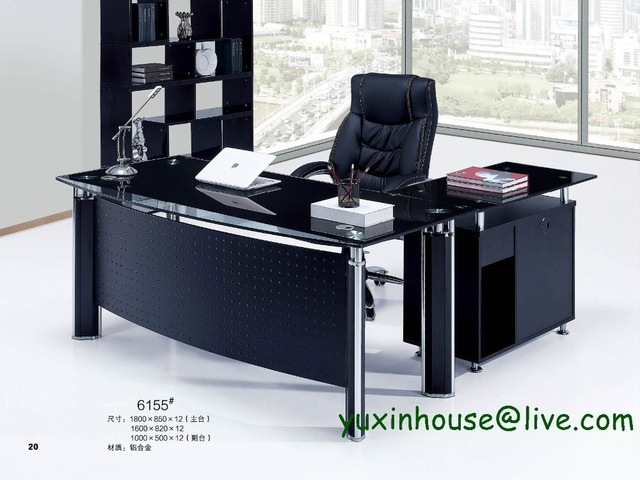 Exceptional Tempered Glass Office Desk Boss Desk Table Commercial Office Furniture With  Modern Design Executive Glass Office Desk 6155